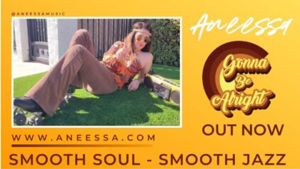 yellow promotional banner - soul music - smooth jazz music - girl sitting on the grass with a radio cassette and rollerskates