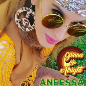 GONNA BE ALRIGHT - Aneessa - CD COVER - 70s LOOK - Peace and love earrings - round sunglasses - brown head scarf